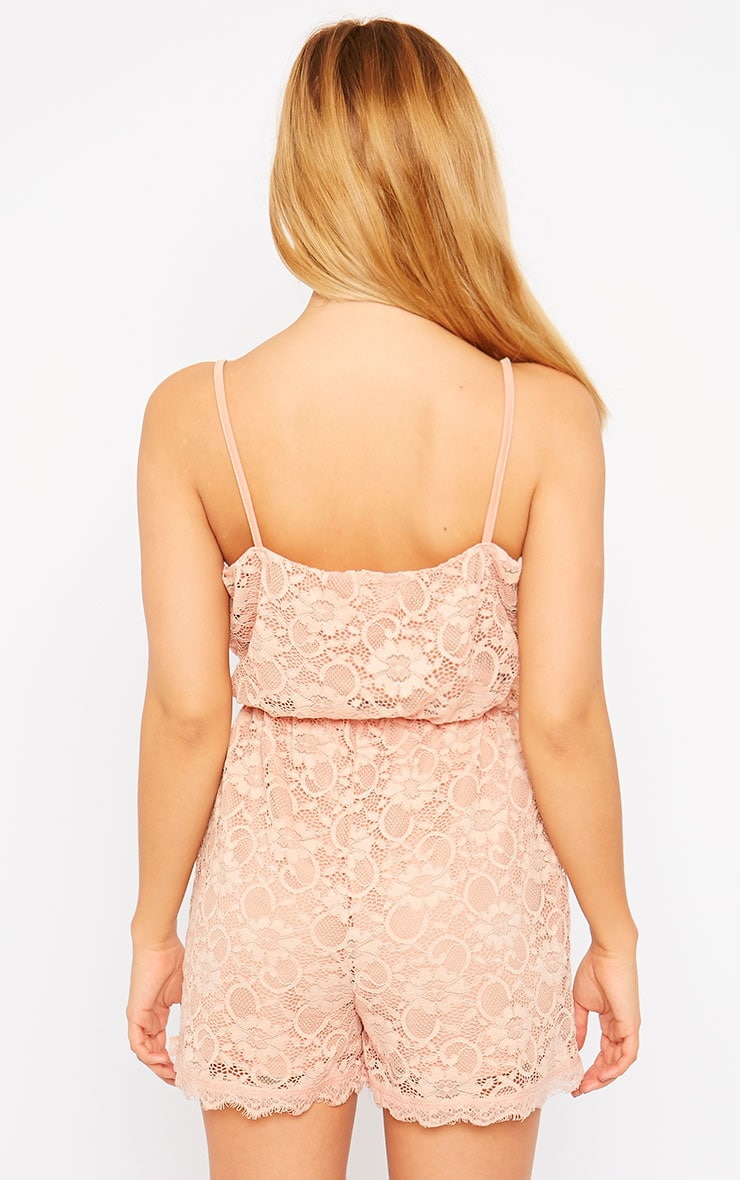 Riva Dusty Pink Lace Wrap Playsuit 2