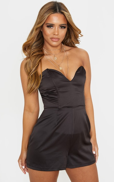Petite Black Corset Satin Playsuit
