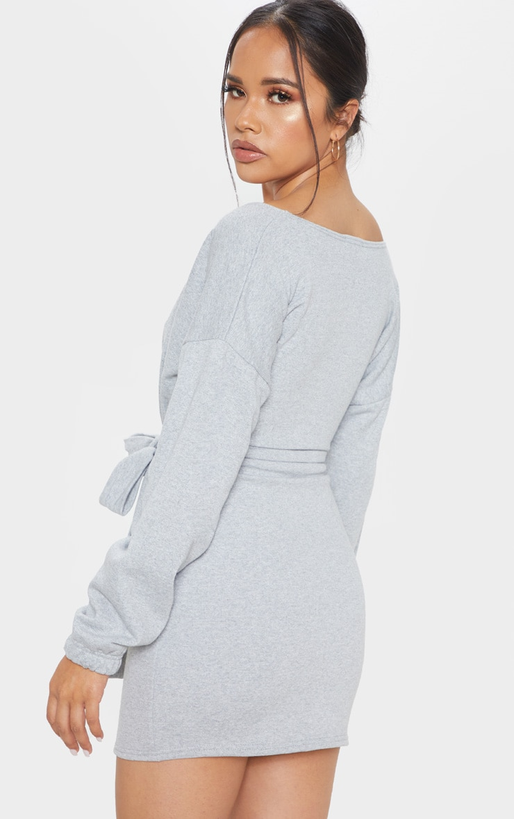 Grey Sweat Wrap Bodycon Dress 2