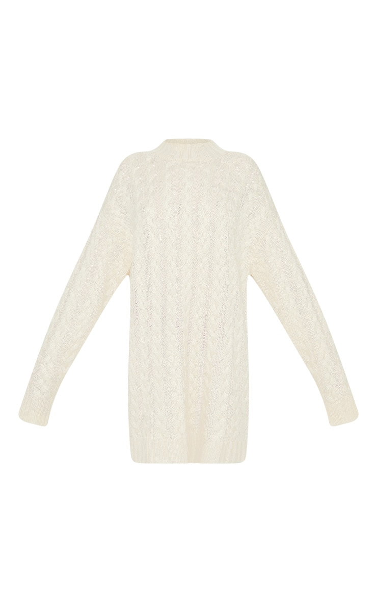 Petite Cream Oversized Cable Knit Dress 3