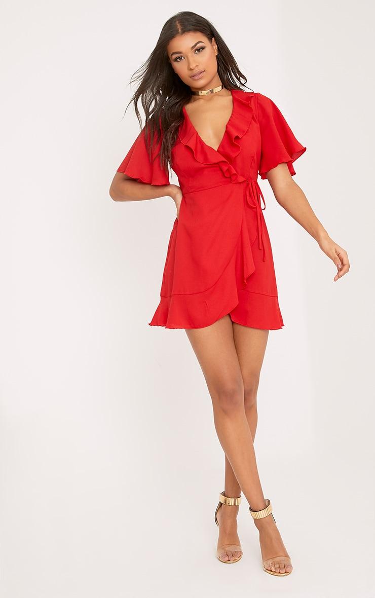 Mollie Red Frill Wrap Mini Dress 4