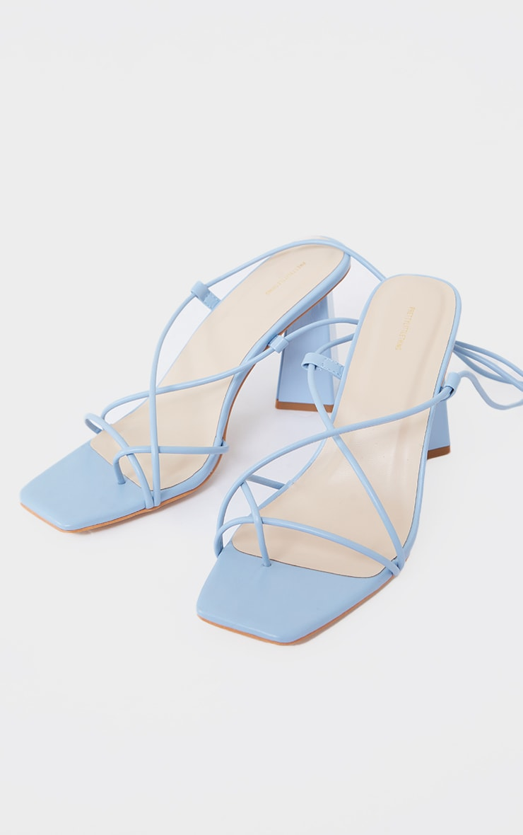 Blue Toe Loop Lace Up Square High Block Heels 4