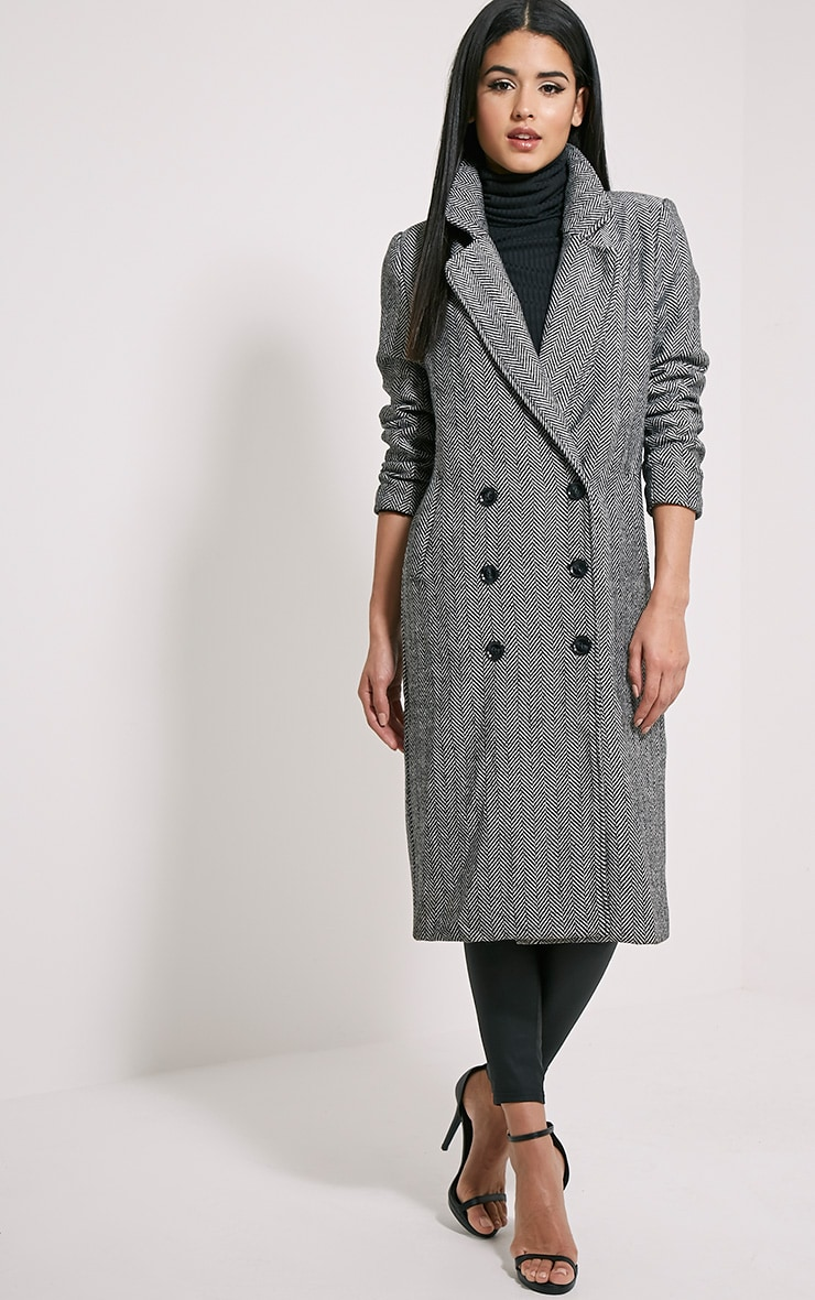 Dea Black Chevron Double Breasted Wool Coat 3