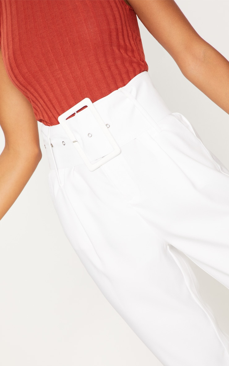 Cream Super High Waisted Belted Tapered Pants 5