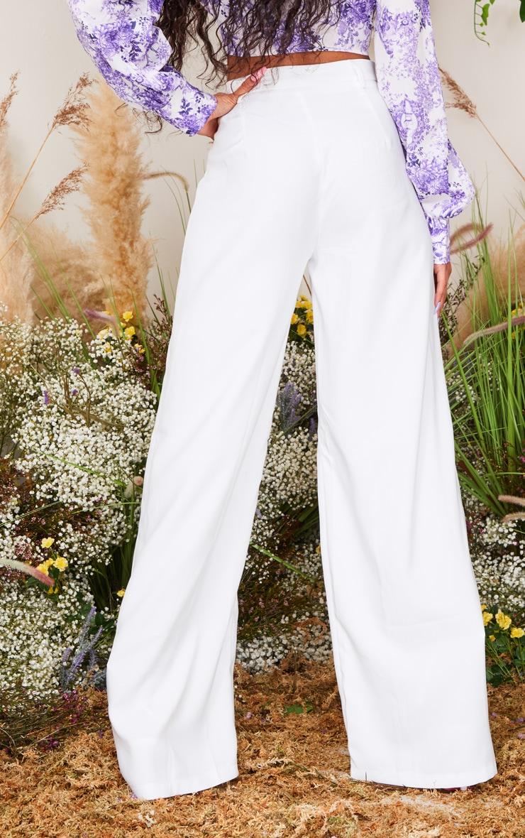 White Wide Leg Woven Pants 3