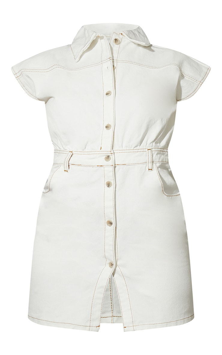 Petite White Sleeveless Denim Dress 5