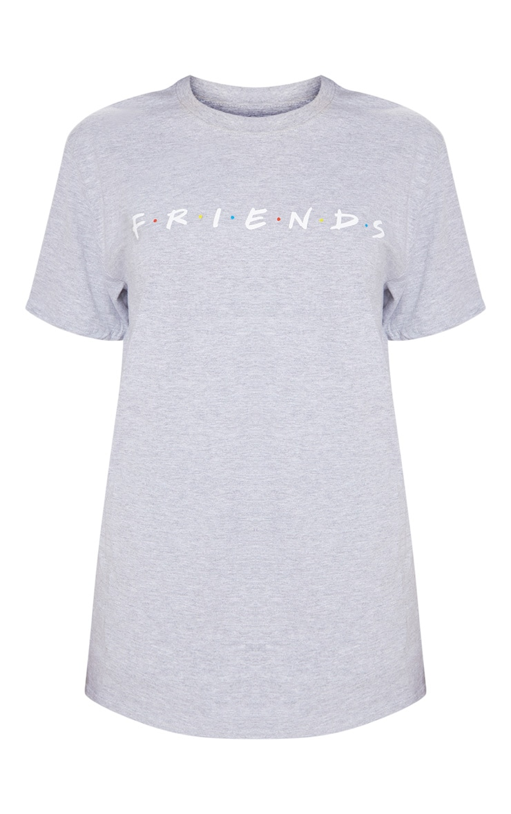 Grey Marl Friends Logo Printed T-Shirt 3