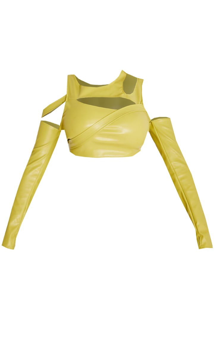 Shape Olive Faux Leather Cut Out Long Sleeve Crop Top 5