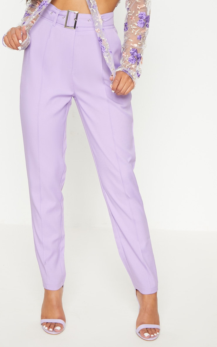 Lilac Belted Tailored Trousers 2