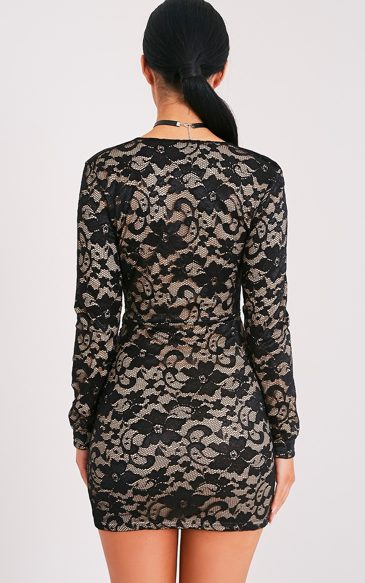 Petite Inah Black Lace Long Sleeve Bodycon Dress 2