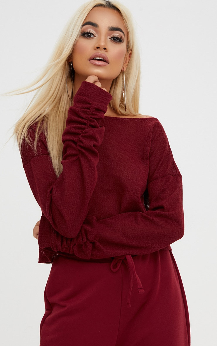 Maroon Lightweight Knit Ruched Sleeve Crop Top  1