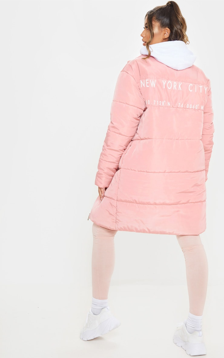 Peach Slogan Midi Oversized Puffer Coat 1