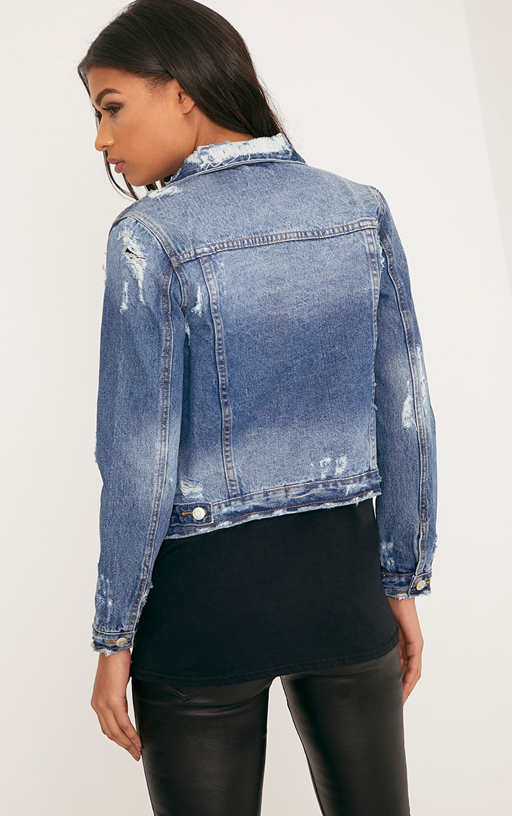 Angee Cropped Mid Wash Distressed Denim Jacket 2