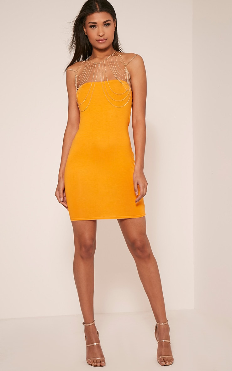 Lorrie Bright Orange Bandeau Bodycon Dress 6