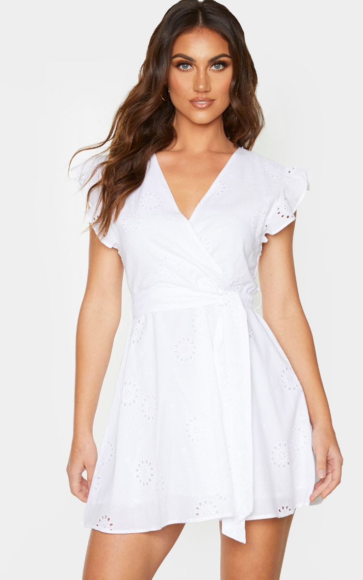 White Broderie Anglaise Frill Tie Waist Shift Dress 1