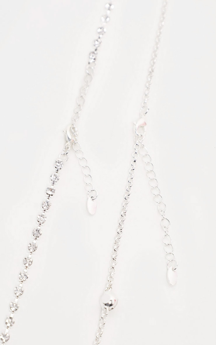 Silver Long Diamante Belly Chain 2