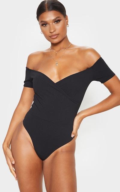Black Crepe Bardot Wrap Bodysuit