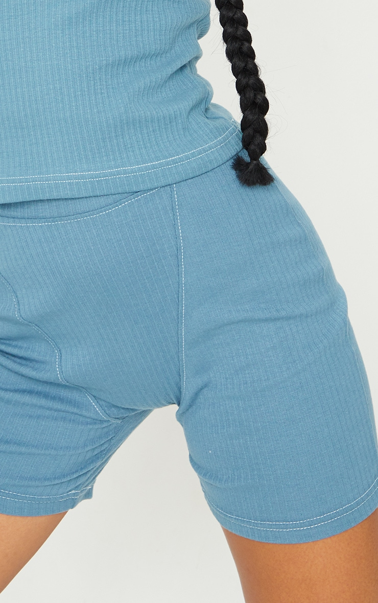 Petrol Blue Structured Rib Seam Detail Shorts 5