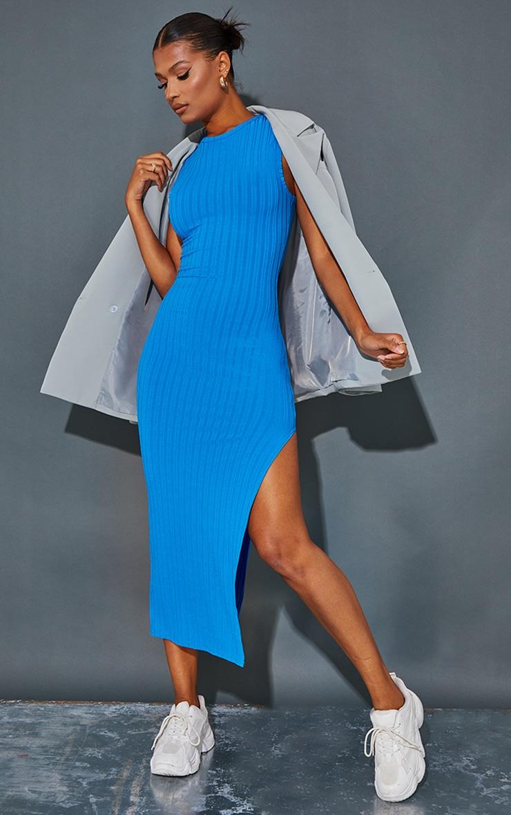 Recycled Blue Rib Split High Neck Midaxi Dress 1