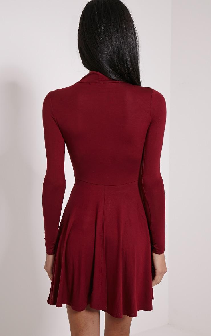 Basic robe patineuse lie de vin en jersey col montant 2