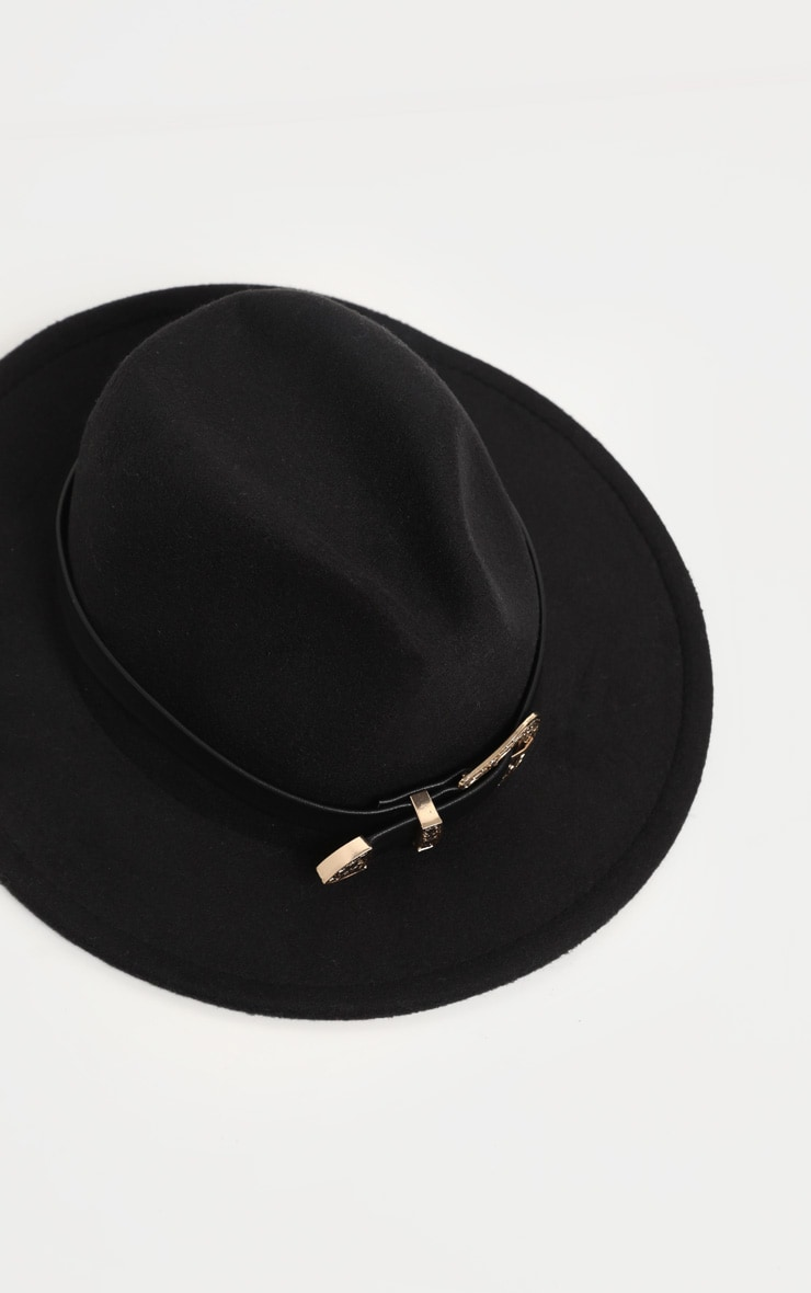 Black Western Buckle Trim Fedora Hat 4
