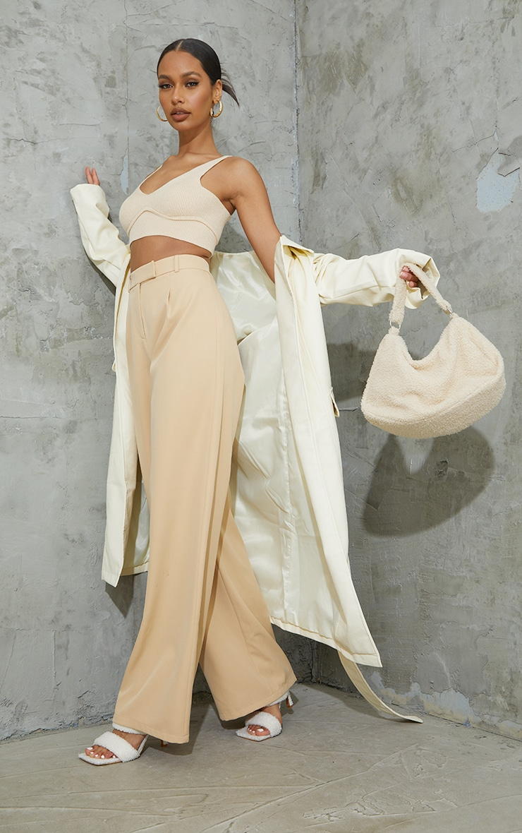 Stone Woven Tailored Wide Leg Trousers 1
