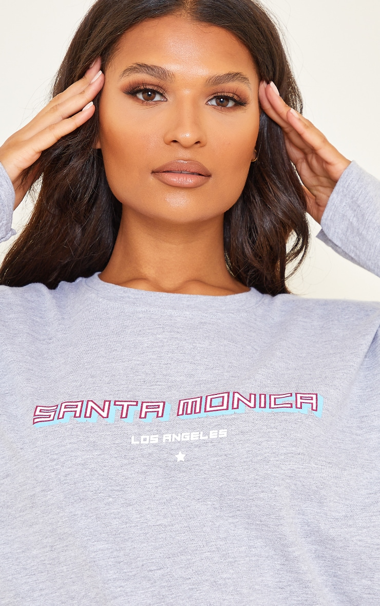 Grey Santa Monica Printed Long Sleeve T Shirt 4