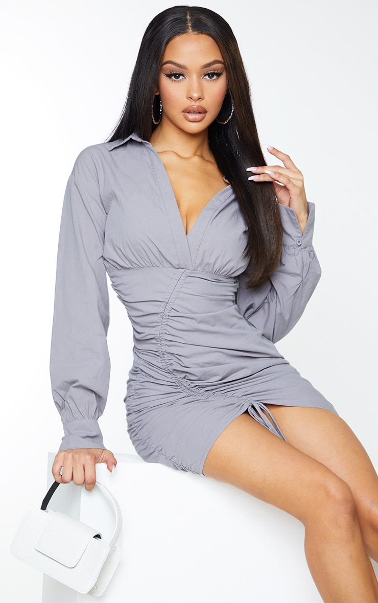 Grey Long Sleeve Asymmetric Ruched Bodycon Dress 3