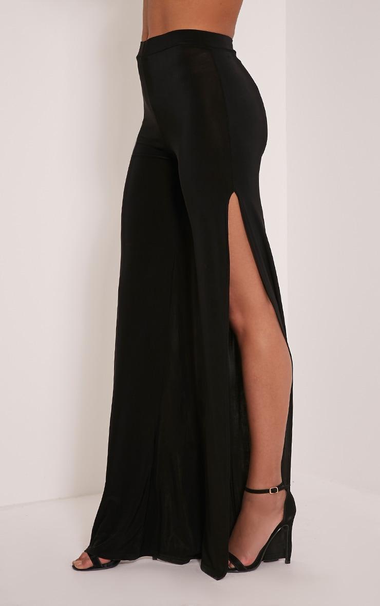 Darsee Black Side Split Slinky Trousers 4