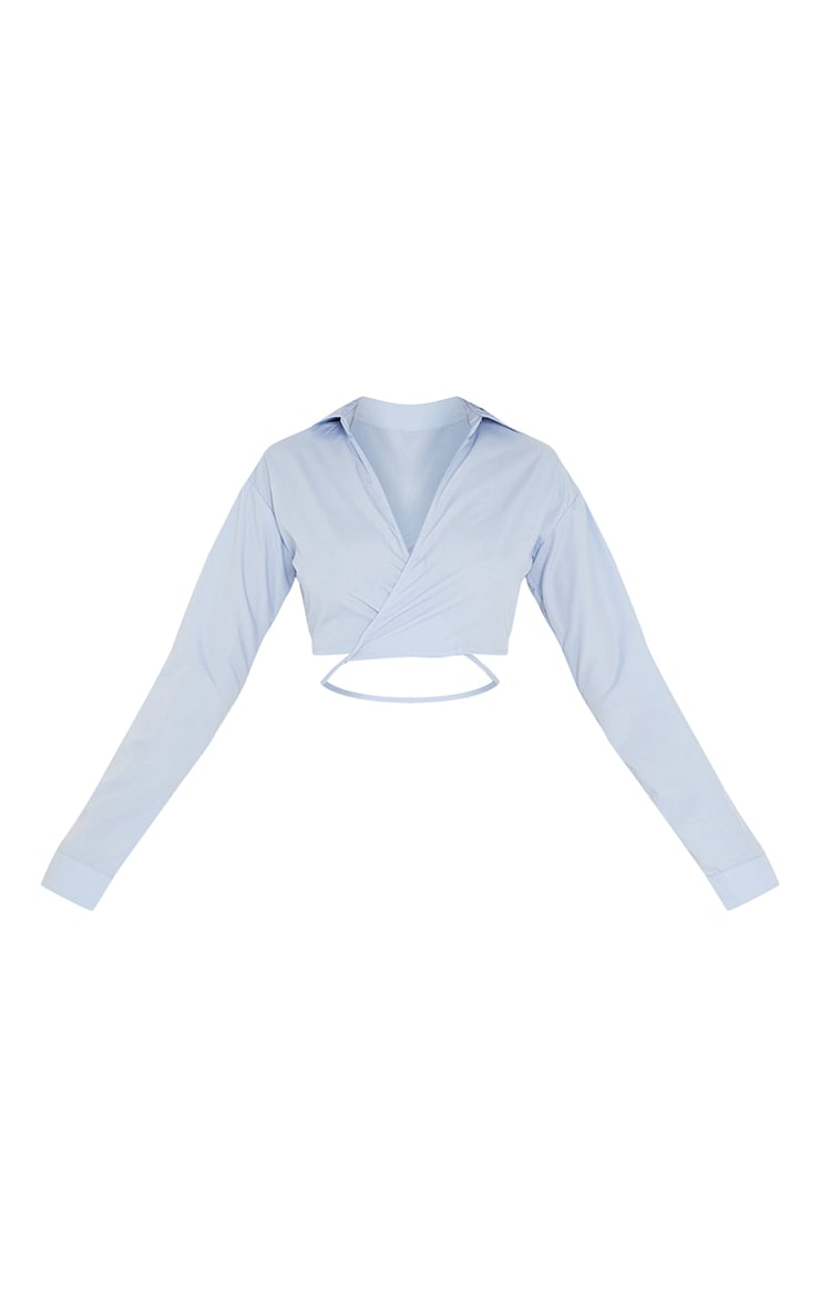 Tall Blue Cropped Long Sleeve Tie Shirt 5