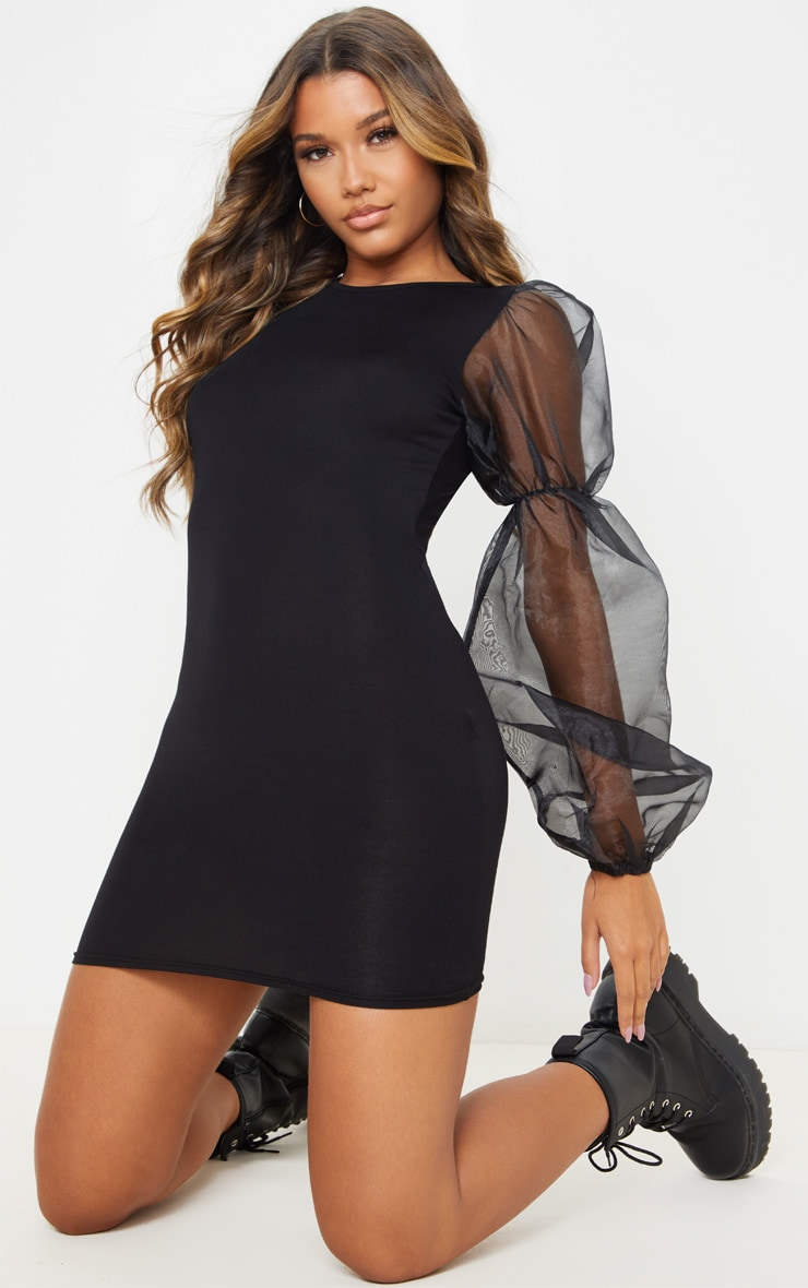 Black Organza Long Puff Sleeve Jersey Bodycon Dress 4