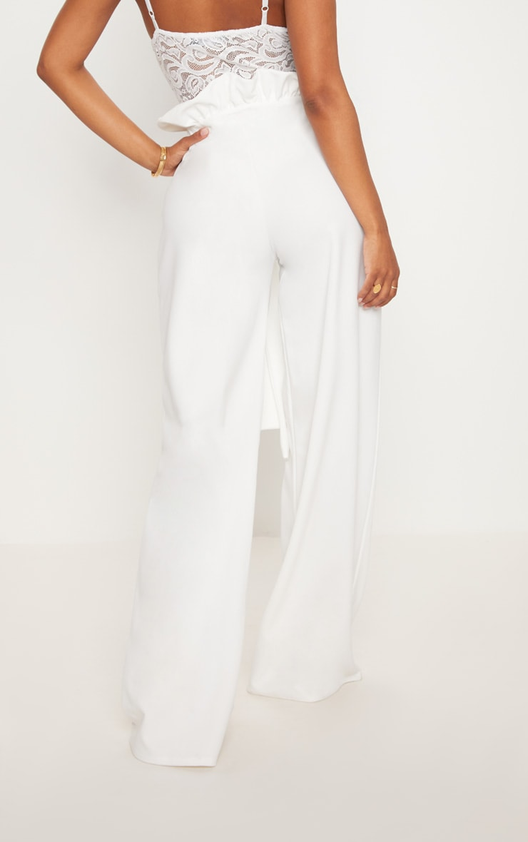 Shape White High Waist Paperbag Wide Leg Trousers 5