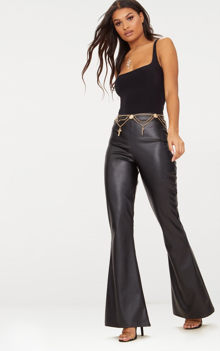 Black Faux Leather Flared Trousers 2
