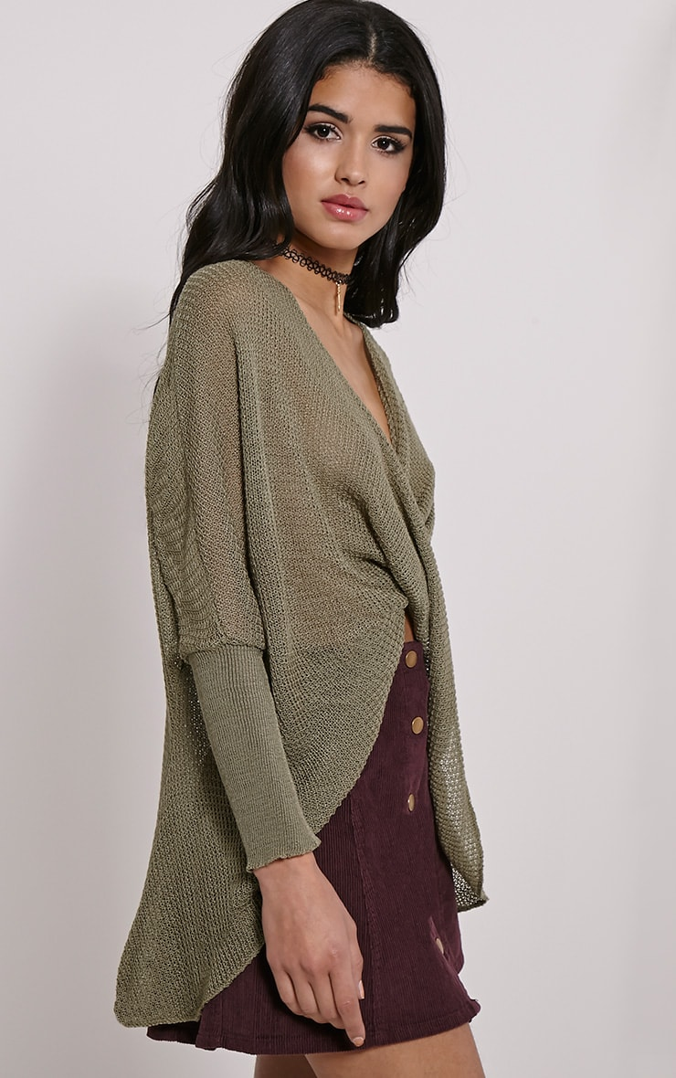 Lynix Khaki Twist Front Knitted Top 4