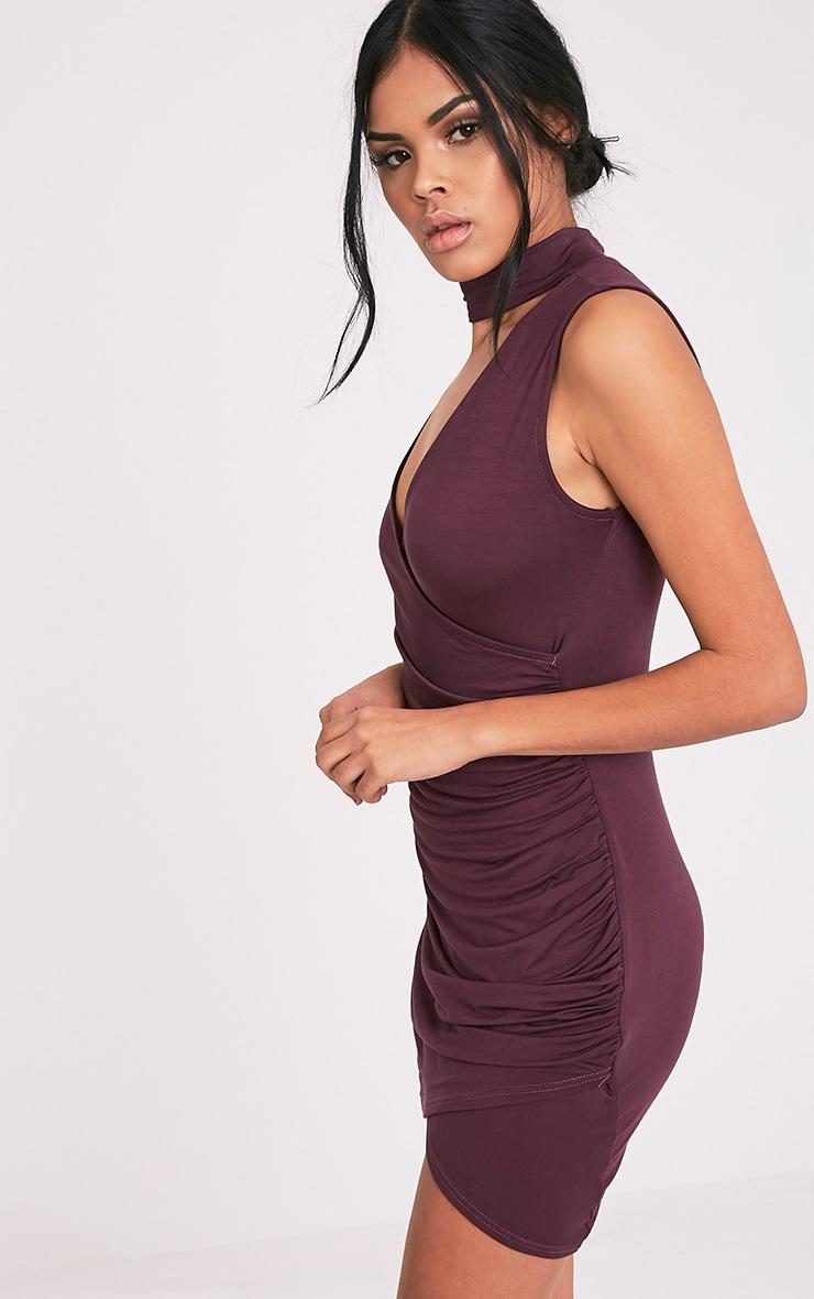 Amaris Aubergine Choker Detail Ruched Bodycon Dress 4