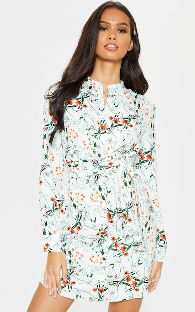 1b1df3c1f34 White Floral Print Tie Waist Collarless Shirt Dress