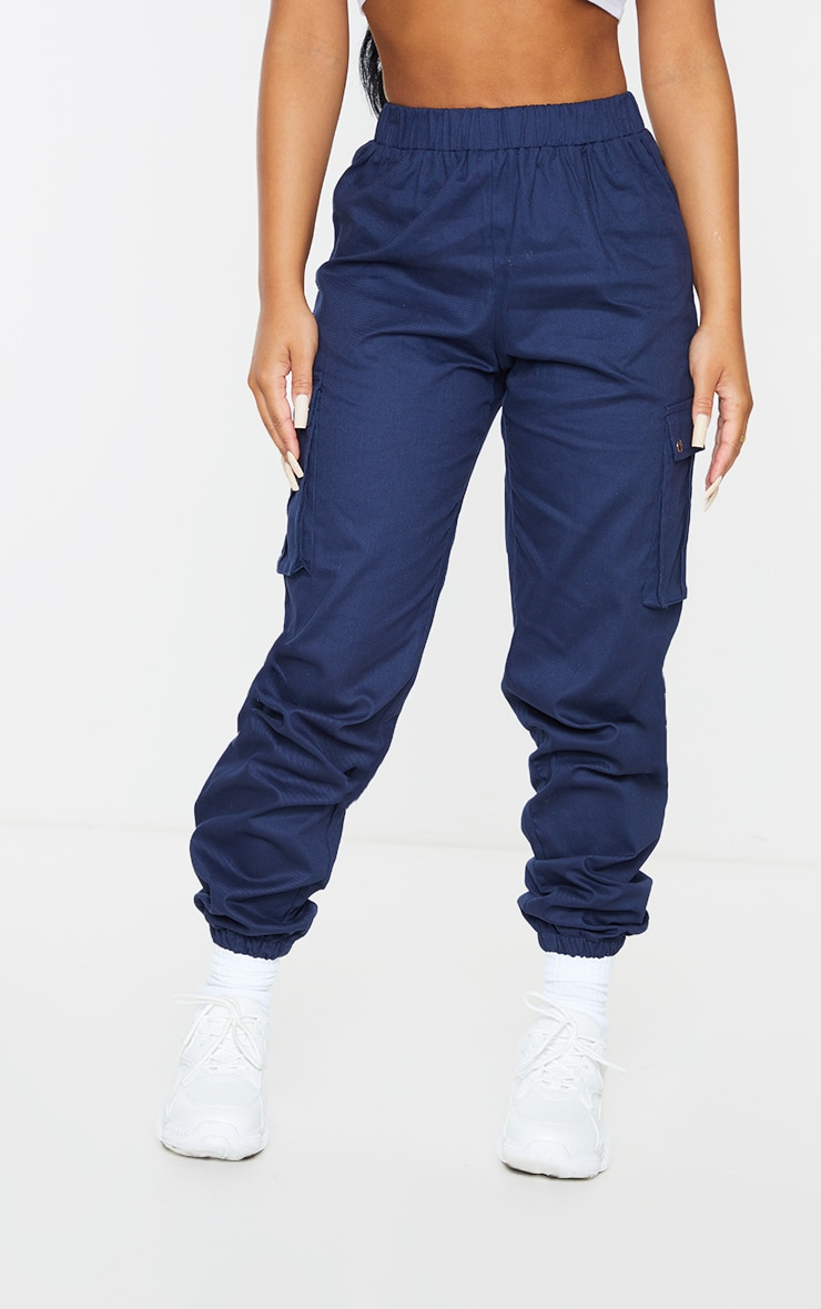 Petite Navy Pocket Detail Cargo Pants 2