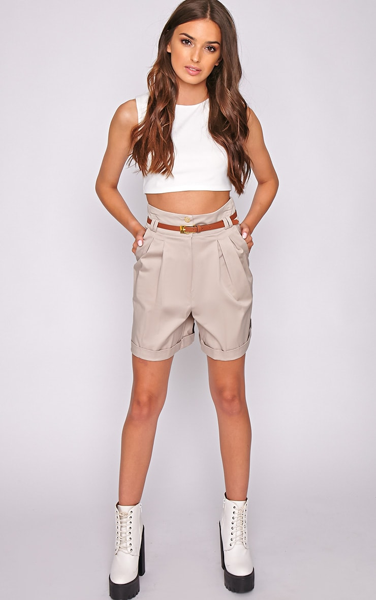Sally Beige Tailored Shorts 5