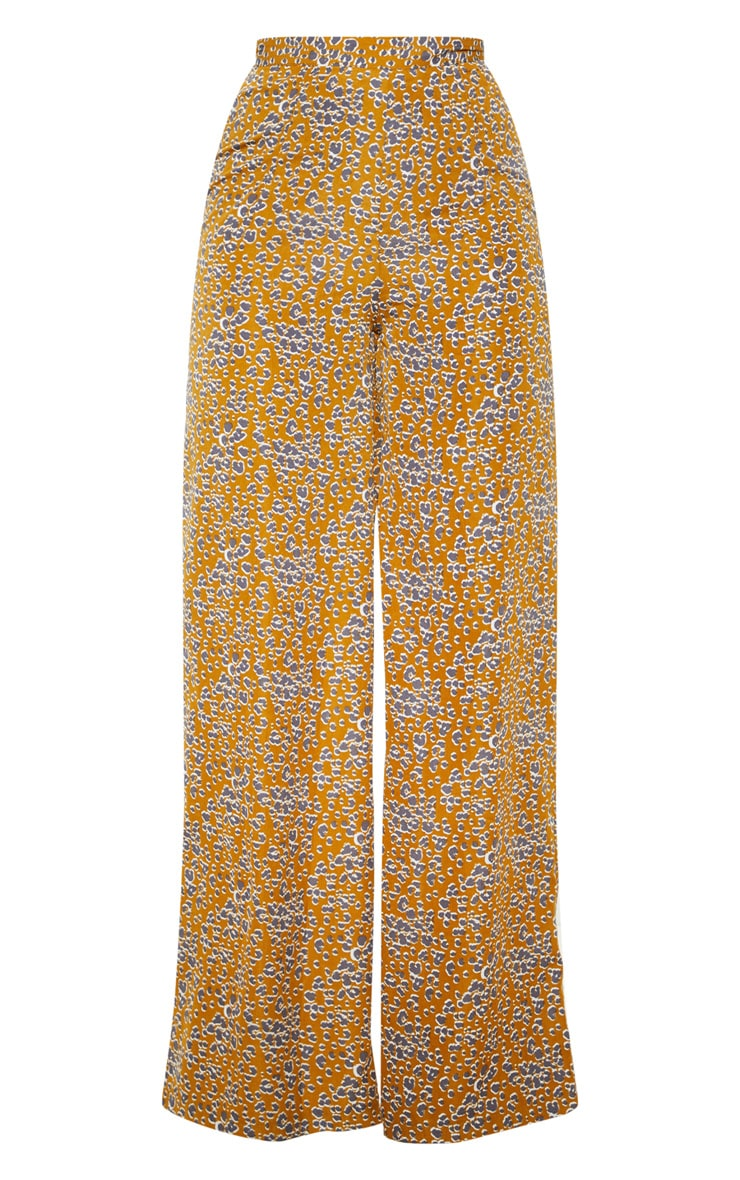 Mustard Leopard Print Wide Leg Pants 3