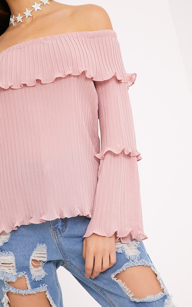 Carly Pink Pleated Bardot Frill Sleeve Blouse 5