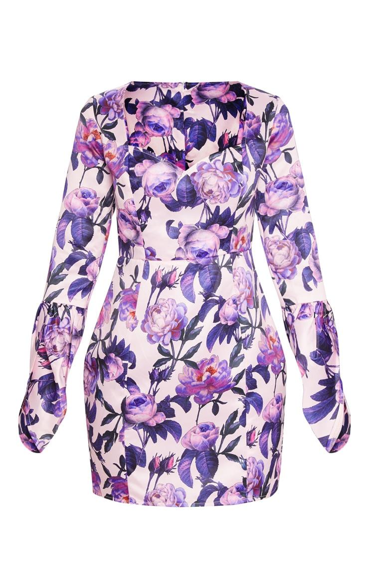 Lilac Floral Print Bonded Satin Long Sleeve Bodycon Dress 3