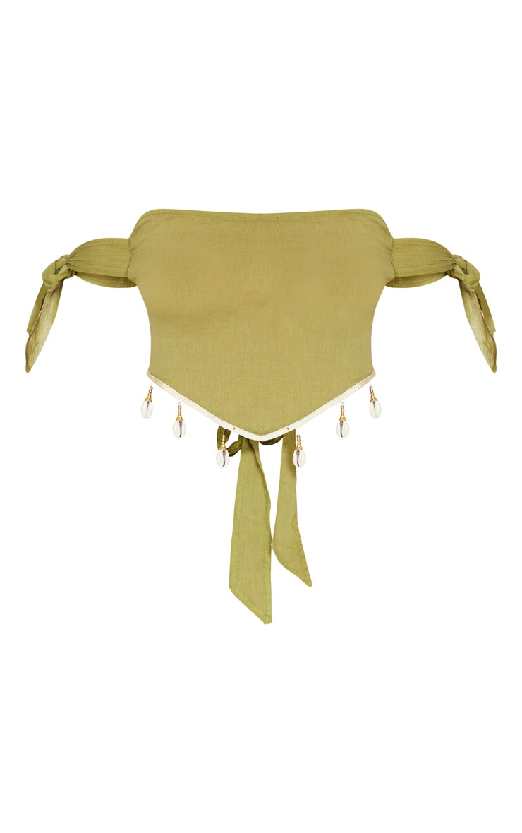 Petite Olive Cheesecloth Shell Trim Crop Top 3