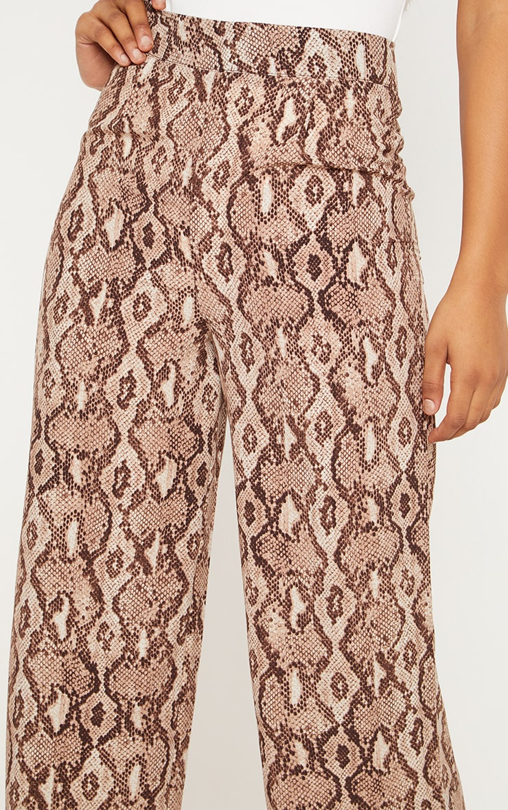 Tall Taupe Snake Print Wide Leg Satin Pants 5