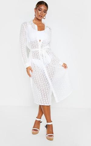 White Broderie Tie Waist Beach Dress image 4