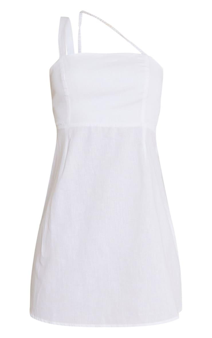 White Linen Look Multi Strap Square Neck Shift Dress 5