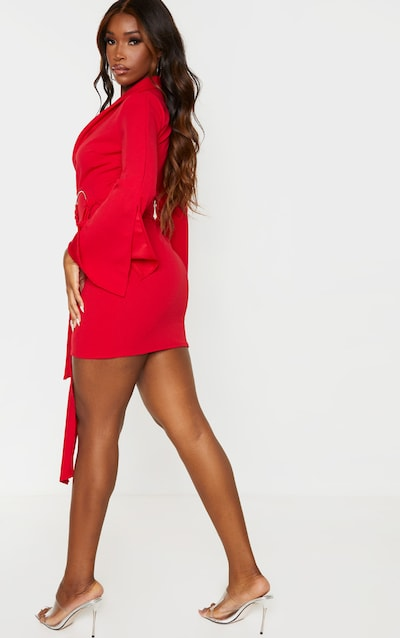 Red Oversized Ring Detail Blazer Dress