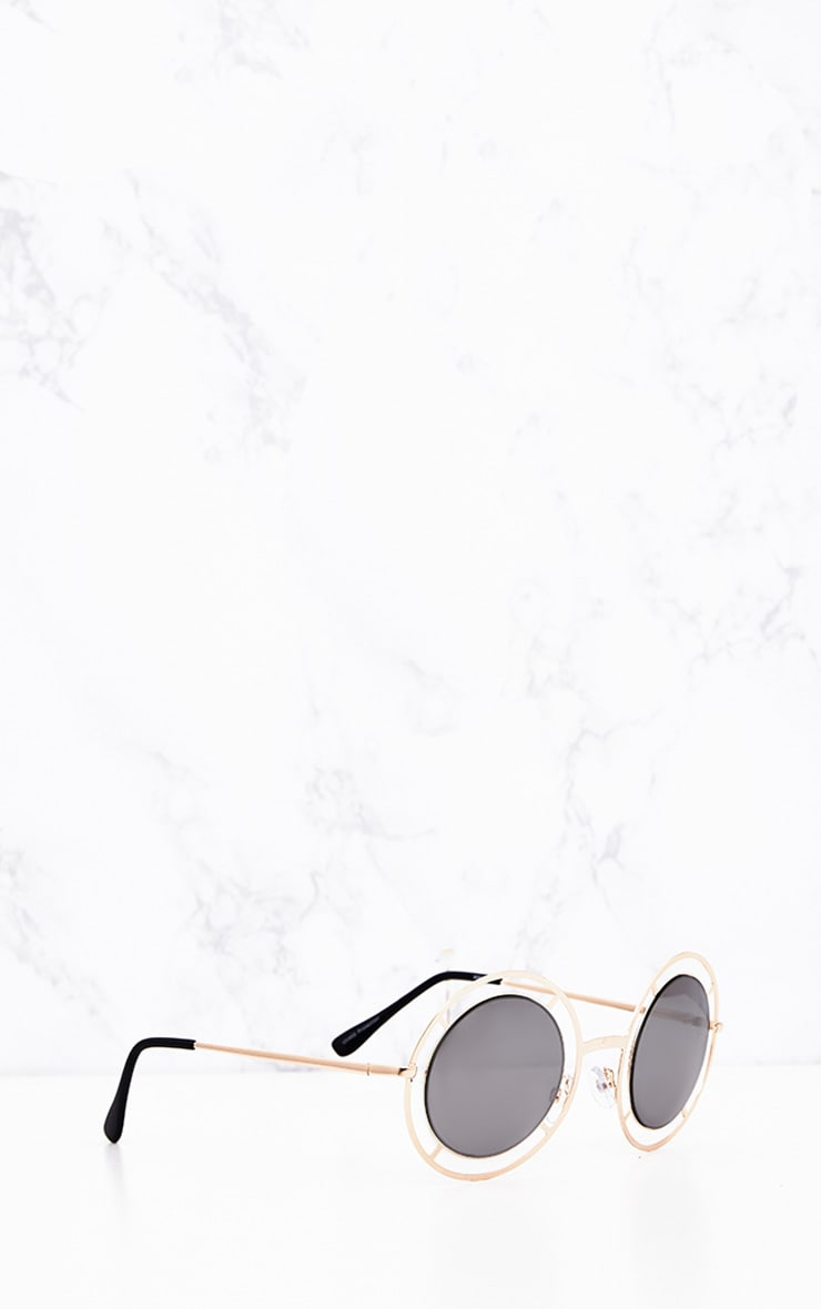 Megan Gold Cricle Frame Sunglasses 3