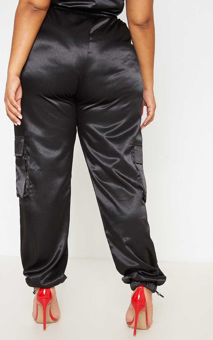 Black Satin Pocket Detail Jogger 5