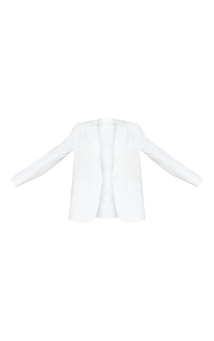 Tall White Oversized Shoulder Pad Suit Blazer 5