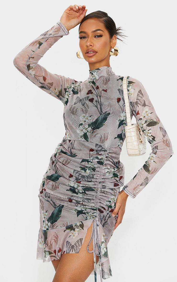 Nude Floral Print High Neck Long Sleeve Mesh Ruched Midi Dress 1